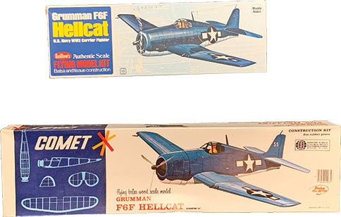 f6f hellcats were popular offerings from guillows and comet as well as numerous